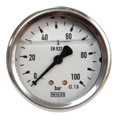 Manometer achteraansl. 100 Bar