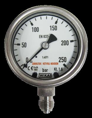 Manometer onderaansl. 250 Bar