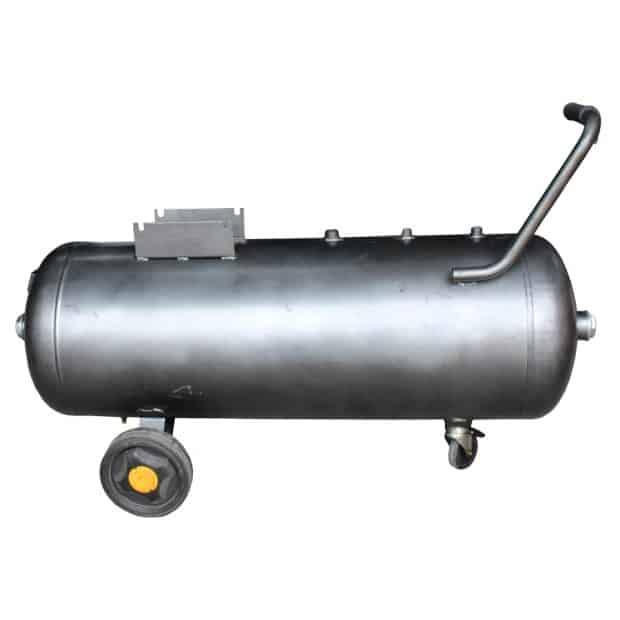 Persluchtketel 100 liter zilvergrijs op wielen