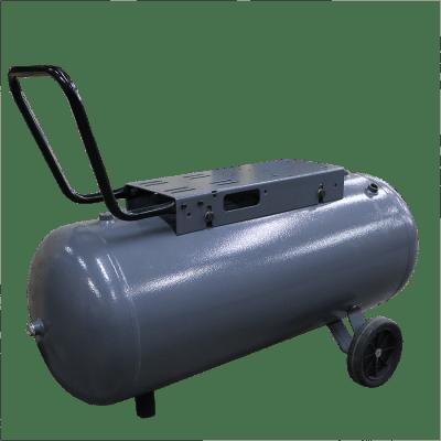 Compressed air tank horizontal 100 liter grey on wheels