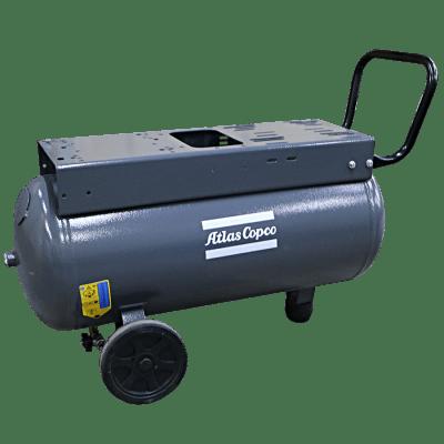Compressed air tank horizontal 90 liter grey on wheels