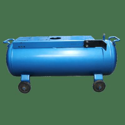 Ketel horizontaal 60 liter blauw op wielen