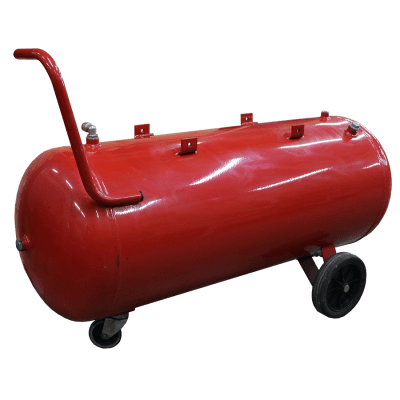 Compressed air tank horizontal 100 liter red on wheels