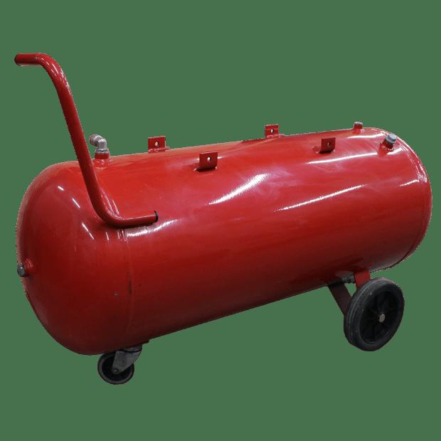 Ketel horizontaal 100 liter rood op wielen